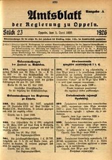 Amtsblatt der Regierung zu Oppeln, 1926, Bd. 111, St. 23