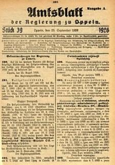 Amtsblatt der Regierung zu Oppeln, 1926, Bd. 111, St. 39