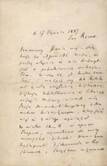 List Kraszewskiego w sprawie poszukiwania materiałów źródłowych