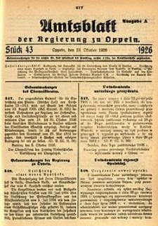 Amtsblatt der Regierung zu Oppeln, 1926, Bd. 111, St. 43