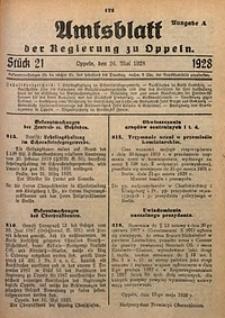 Amtsblatt der Regierung zu Oppeln, 1928, Bd. 113, St. 21