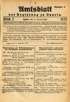 Amtsblatt der Regierung zu Oppeln, 1930, Bd. 115, St. 2