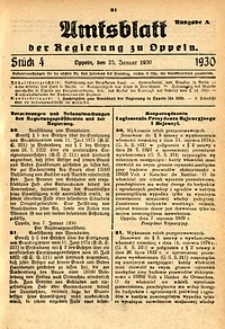 Amtsblatt der Regierung zu Oppeln, 1930, Bd. 115, St. 4