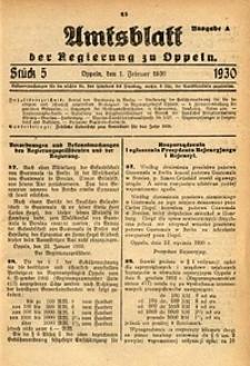 Amtsblatt der Regierung zu Oppeln, 1930, Bd. 115, St. 5