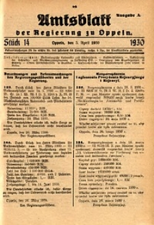 Amtsblatt der Regierung zu Oppeln, 1930, Bd. 115, St. 14