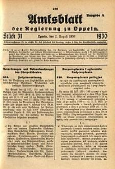 Amtsblatt der Regierung zu Oppeln, 1930, Bd. 115, St. 31