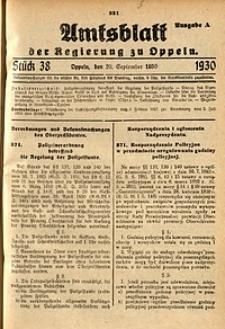Amtsblatt der Regierung zu Oppeln, 1930, Bd. 115, St. 38
