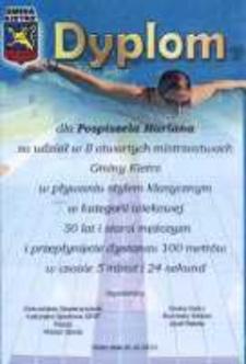 Dyplom za udział w II otwartych mistrzostwach Gminy Kietrz w pływaniu stylem klasycznym.