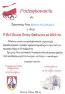 Podziękowanie za promocję, popularyzowanie i przekaz wydarzeń sportowych.