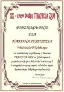 """Podziękowanie za wieloletnią współprace z teatrem """"Tradycja"""" ZSM w Głubczycach."""
