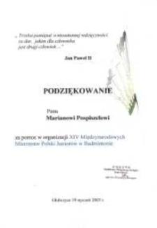 Podziękowanie za pomoc w organizacji XIV Międzynarodowych Mistrzostw Polski Juniorów w Badmintonie.