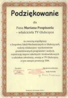 Podziękowanie za owocną współpracę z Zespołem Szkół Mechanicznych w Głubczycach.
