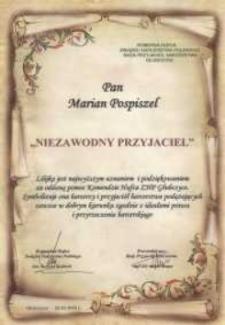 """Podziękowanie za oddaną pomoc Komendzie Hufca ZHP Głubczyce oraz przyznanie lilijki """"Niezawodny przyjaciel""""."""