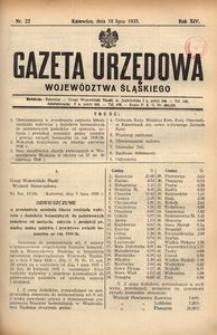 Gazeta Urzędowa Województwa Śląskiego, 1935, R. 14, nr 22