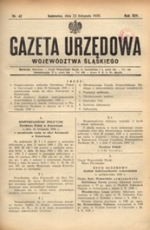 Gazeta Urzędowa Województwa Śląskiego, 1935, R. 14, nr 42