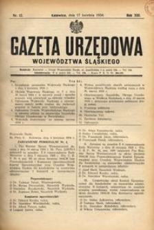 Gazeta Urzędowa Województwa Śląskiego, 1934, R. 13, nr 12