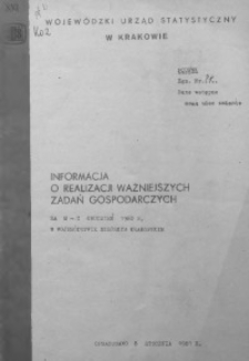 Informacja o realizacji ważniejszych zadań gospodarczych za m-c grudzień 1980 r. w województwie miejskim krakowskim
