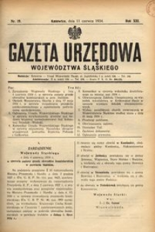 Gazeta Urzędowa Województwa Śląskiego, 1934, R. 13, nr 19