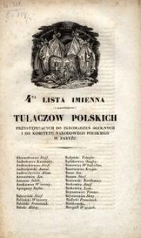 4ta lista imienna (z poprzedzającą) tułaczow polskich przystępuiących do zgromadzeń ogólnych i do Komitetu Narodowego Polskiego w Paryżu