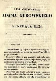 List obywatela Adama Gurowskiego do generała Bem