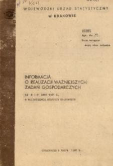 Informacja o realizacji ważniejszych zadań gospodarczych za m-c luty 1981 r. w województwie miejskim krakowskim