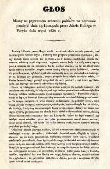 Głos miany na prywatnym zebraniu polaków na uczczenie pamiątki dnia 29 Listopada przez Józefa Hubego w Paryżu dnia tegoż 1832 r.