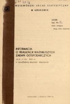 Informacja o realizacji ważniejszych zadań gospodarczych za m-c maj 1981 r. w województwie miejskim krakowskim