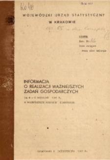 Informacja o realizacji ważniejszych zadań gospodarczych za m-c wrzesień 1981 r. w województwie miejskim krakowskim