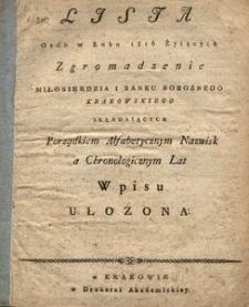 Lista Osób w Roku 1816 Żyiących Zgromadzenie Miłosierdzia i Banku Bobożnego Krakowskiego składaiących Porządkiem Alfabetycznym Nazwisk a Chronologicznym Lat Wpisu ułożona