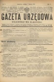 Gazeta Urzędowa Województwa Śląskiego, 1931, R. 10, nr 5