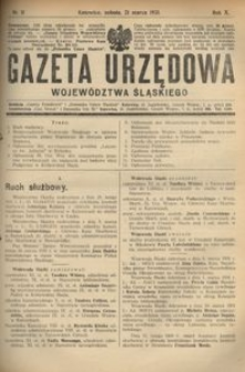 Gazeta Urzędowa Województwa Śląskiego, 1931, R. 10, nr 11