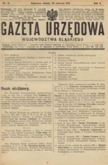 Gazeta Urzędowa Województwa Śląskiego, 1931, R. 10, nr 21