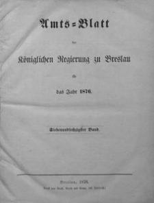 Sach-Register oder alphabetische Darstellung der in dem Amtsblatte der Königlichen Regierung zu Breslau vom Jahre 1876 enthaltenen Verordnungen und Bekanntmachungen