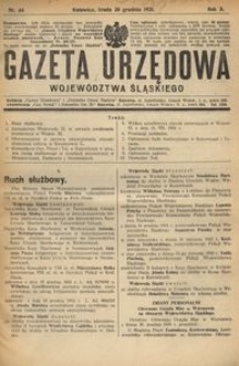 Gazeta Urzędowa Województwa Śląskiego, 1931, R. 10, nr 44