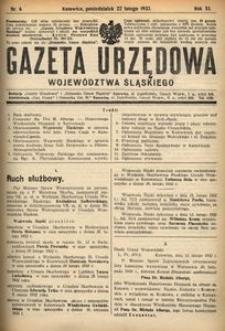 Gazeta Urzędowa Województwa Śląskiego, 1932, R. 11, nr 6
