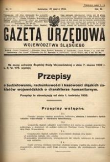 Gazeta Urzędowa Województwa Śląskiego, 1932, R. 11, nr 11