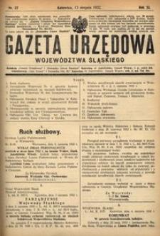 Gazeta Urzędowa Województwa Śląskiego, 1932, R. 11, nr 27