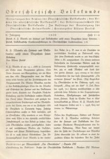 Oberschlesische Volkskunde, 1938, Jg. 9, H. 1/4