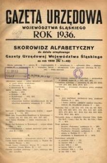 Skorowidz Alfabetyczny do Gazety Urzędowej Województwa Śląskiego za rok 1936