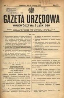 Gazeta Urzędowa Województwa Śląskiego, 1936, R. 15, nr 1
