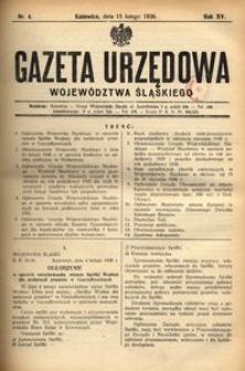 Gazeta Urzędowa Województwa Śląskiego, 1936, R. 15, nr 4