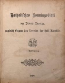 Katholisches Sonntagsblatt der Diöcese Breslau, 1898, Jg. 4, Inhalts-Verzeichnis