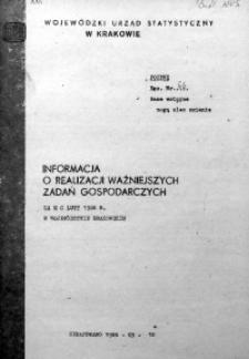 Informacja o realizacji ważniejszych zadań gospodarczych za m-c luty 1986 r.
