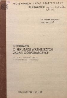 Informacja o realizacji ważniejszych zadań gospodarczych za m-c grudzień 1987 r. w województwie krakowskim