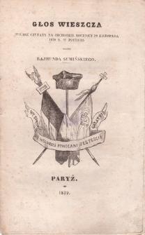 Głos wieszcza. Wiersz czytany na obchodzie rocznicy 29 listopada 1838 r. w Poitiers