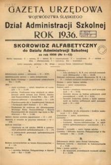 Skorowidz Alfabetyczny do Działu Administracji Szkolnej za rok 1936