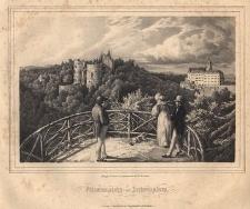 Fürstenstein vom Luisenplatz. Widok na stary i nowy zamek Książ