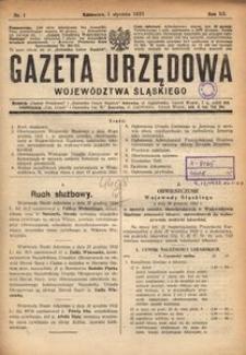 Gazeta Urzędowa Województwa Śląskiego, 1933, R. 12, nr 1