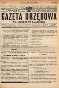 Gazeta Urzędowa Województwa Śląskiego, 1933, R. 12, nr 14