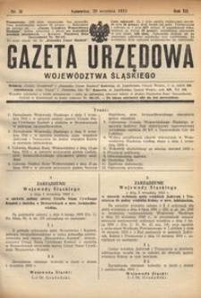 Gazeta Urzędowa Województwa Śląskiego, 1933, R. 12, nr 31